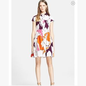 "DVF ""scarlet"" orange and pink printed shirtdress"